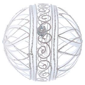 Palla addobbo Natale trasparente fiore bianco 150 mm s3
