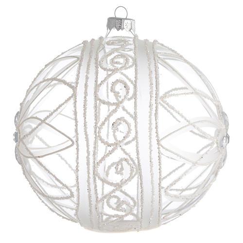 Palla addobbo Natale trasparente fiore bianco 150 mm 2