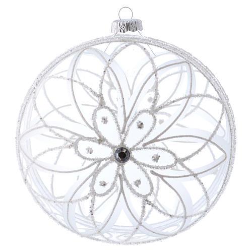 Palla addobbo Natale trasparente fiore bianco 150 mm 1