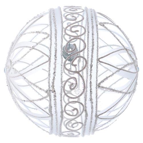 Palla addobbo Natale trasparente fiore bianco 150 mm 3