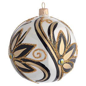 Boule de Noël noir or brillant 100 mm s2
