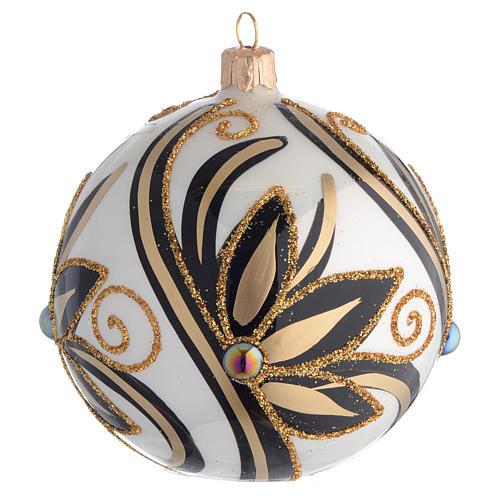 Boule de Noël noir or brillant 100 mm 1