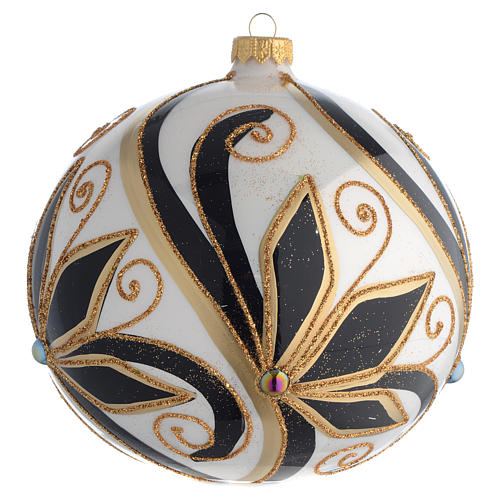 Christmas Bauble shiny black and gold 15cm 1