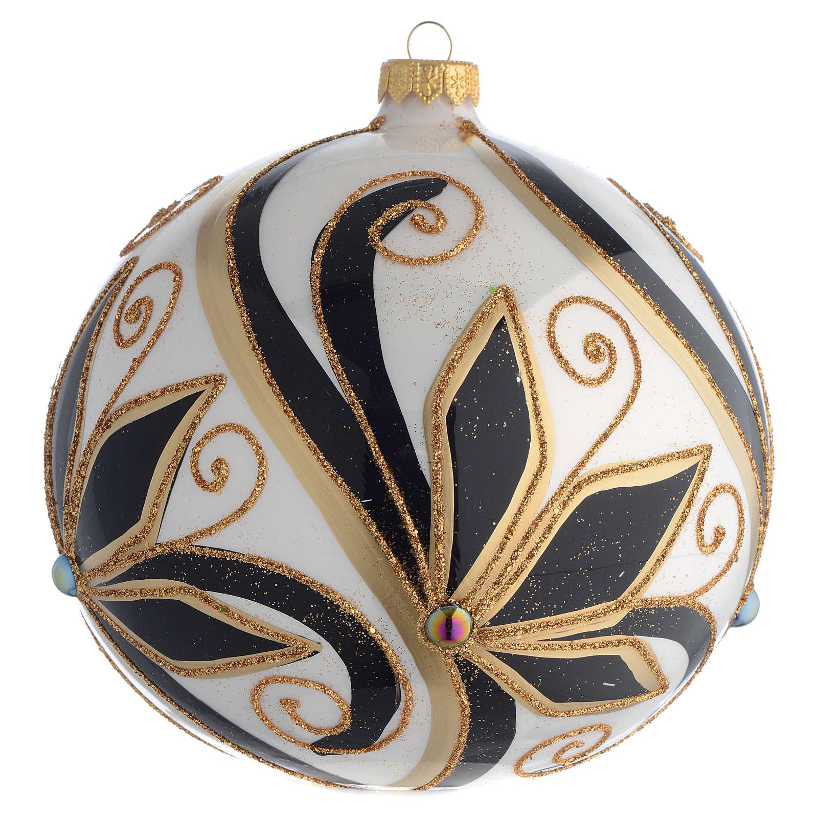 Boule Noël décor noir or brillant 150 mm 4