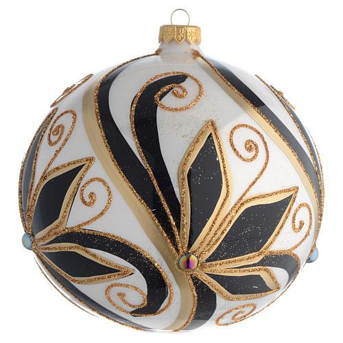 Boule Noël décor noir or brillant 150 mm 1