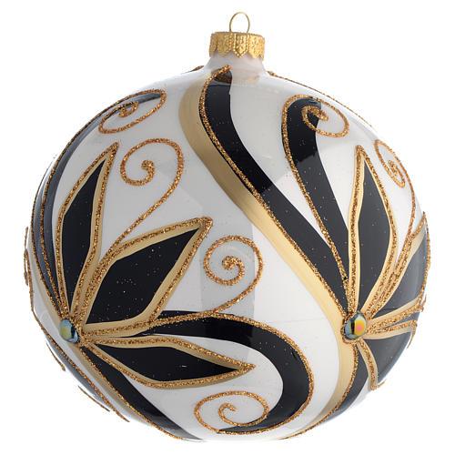 Boule Noël décor noir or brillant 150 mm 2