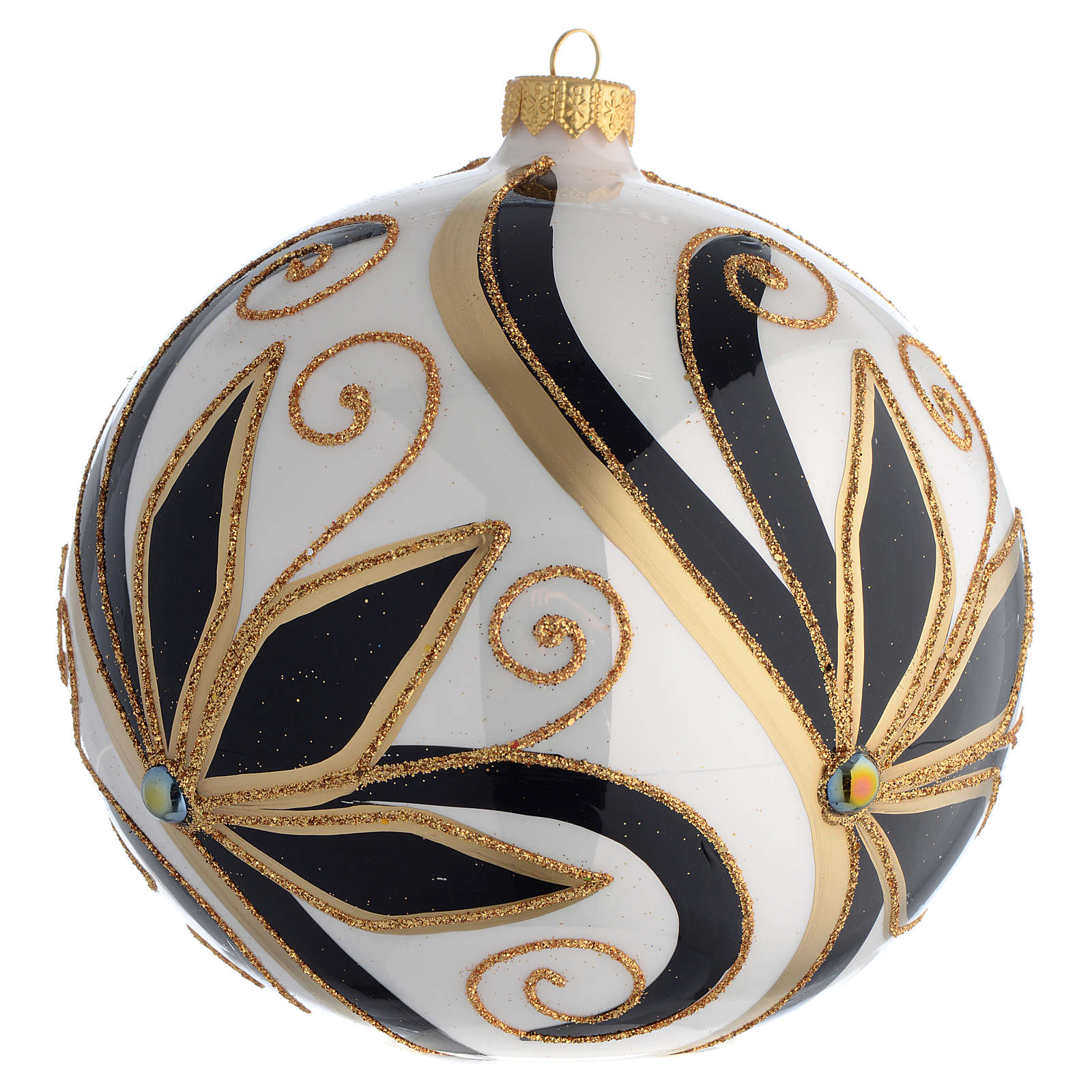 Christmas Bauble shiny black and gold 15cm 4