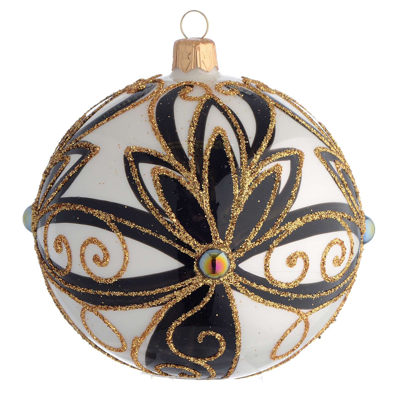 Pallina di Natale nero oro lucido fiori 100 mm 4