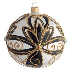 Pallina di Natale nero oro lucido fiori 100 mm s1
