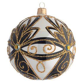 Pallina di Natale nero oro lucido fiori 100 mm s2