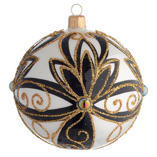 Pallina di Natale nero oro lucido fiori 100 mm 1