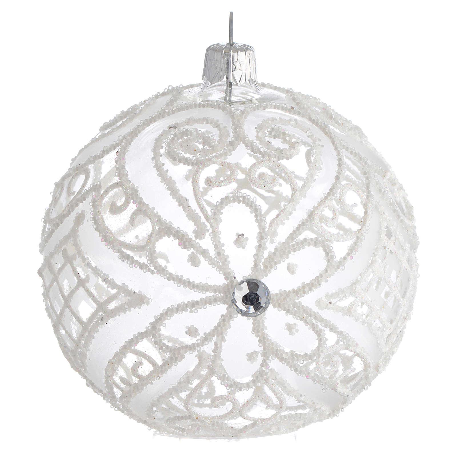 Bola de Navidad blanca y transparente 100 mm 4