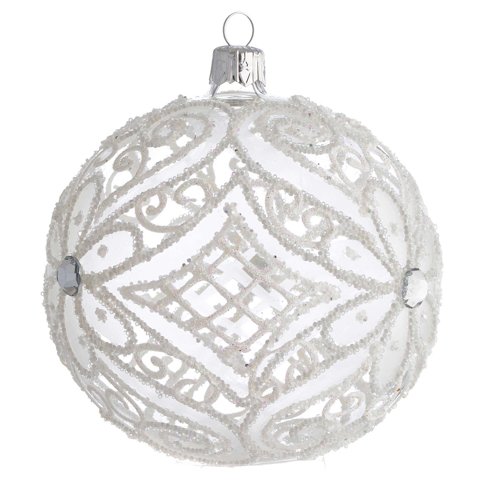 Boule pour Noël blanc mat et transparent 100 mm 4