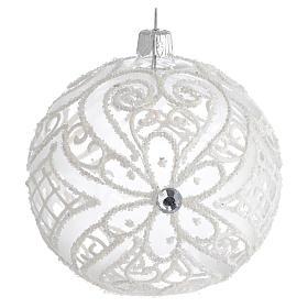 Boule pour Noël blanc mat et transparent 100 mm s1