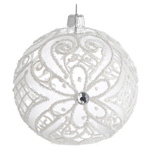 Boule pour Noël blanc mat et transparent 100 mm 1