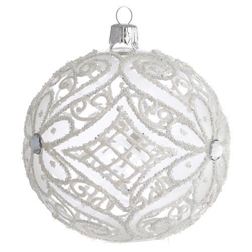 Boule pour Noël blanc mat et transparent 100 mm 2