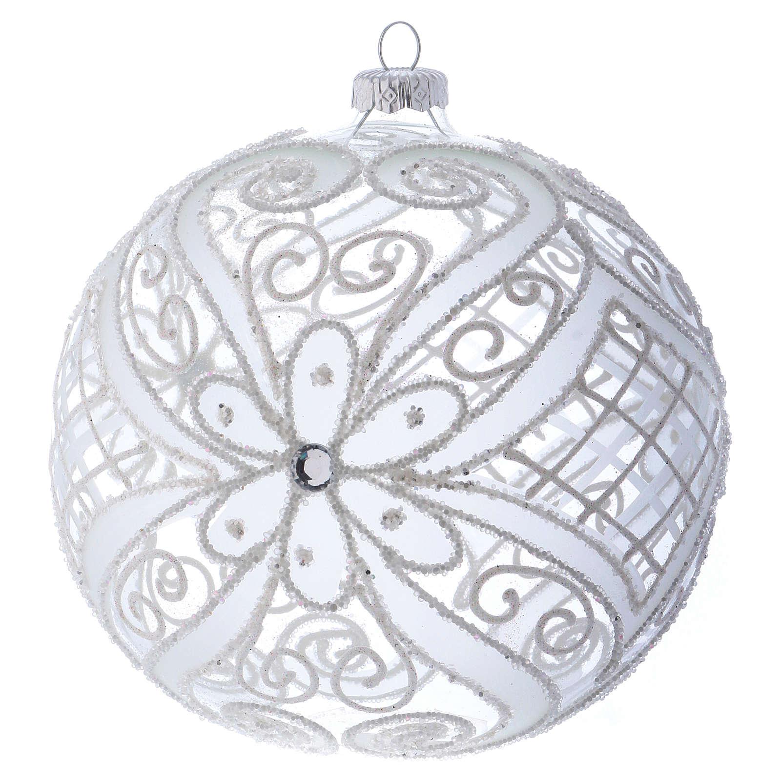 Bola de Navidad blanca y transparente 150 mm 4