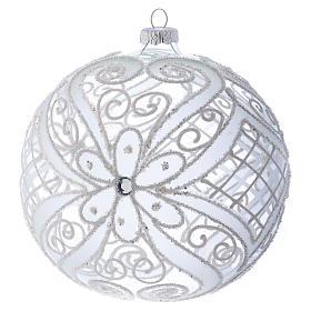 Bola de Navidad blanca y transparente 150 mm s1