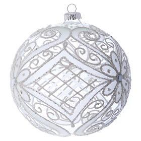 Bola de Navidad blanca y transparente 150 mm s2