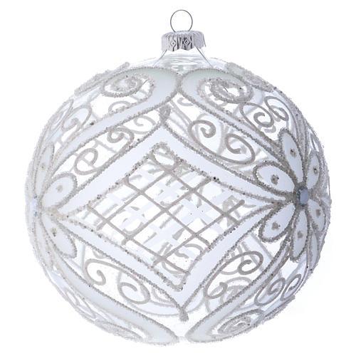 Bola de Navidad blanca y transparente 150 mm 2