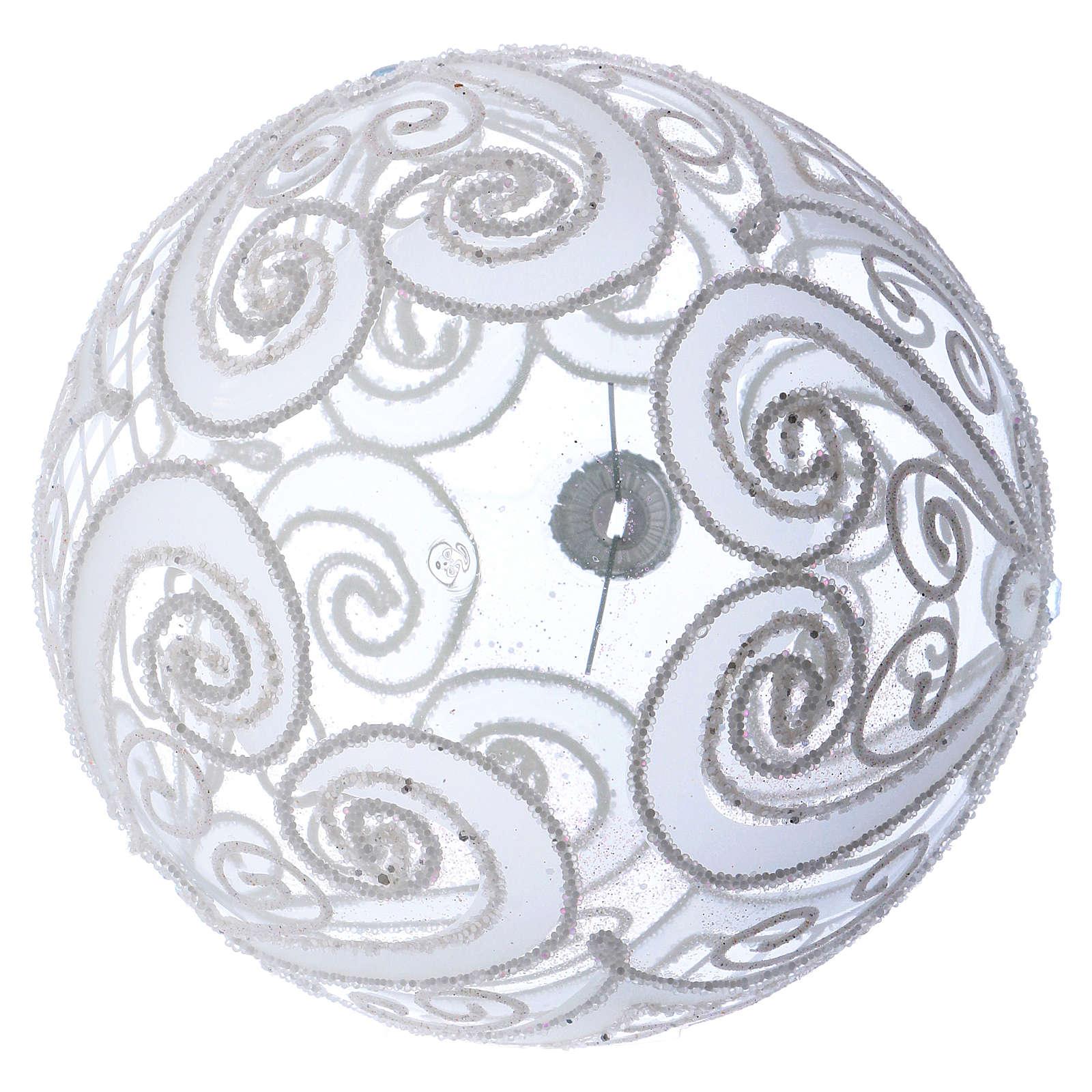 Palla addobbo Natale bianco opaco e trasparente 150 mm 4