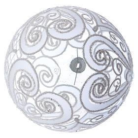 Palla addobbo Natale bianco opaco e trasparente 150 mm s3
