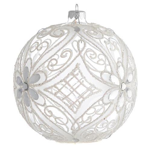 Palla addobbo Natale bianco opaco e trasparente 150 mm 2