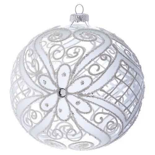 Palla addobbo Natale bianco opaco e trasparente 150 mm 1