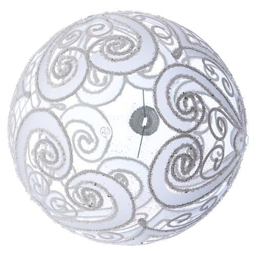 Palla addobbo Natale bianco opaco e trasparente 150 mm 3