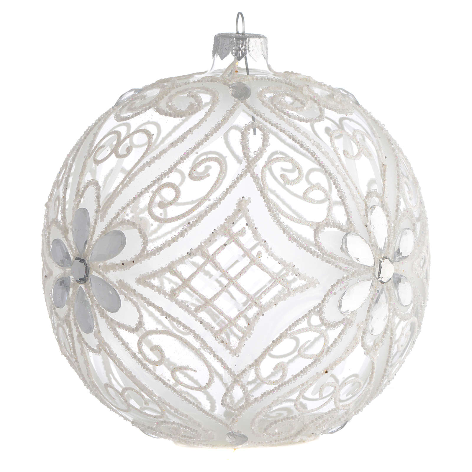 Christmas Bauble matte white and transparent 15cm 4