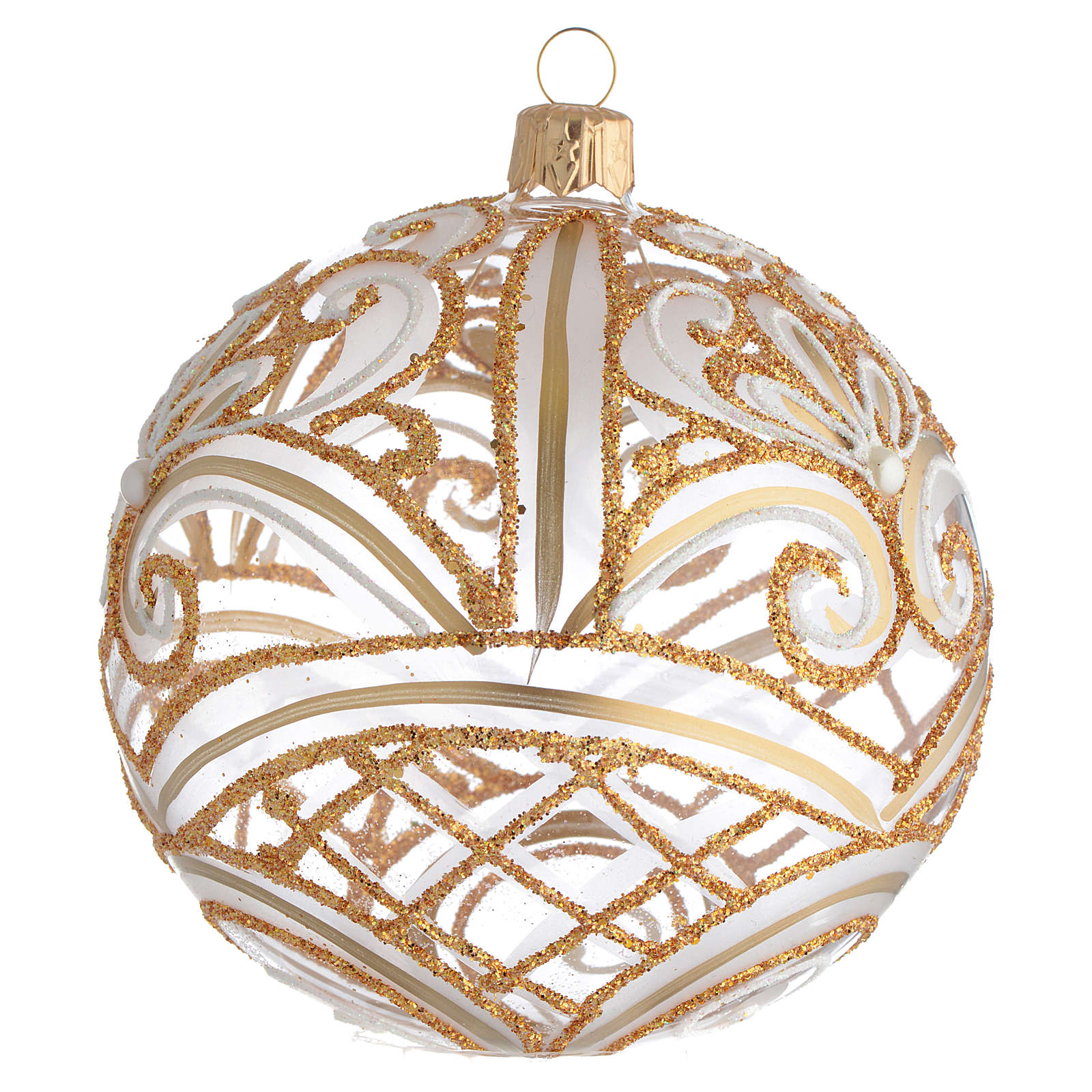 Bola de Navidad transparente oro 100 mm 4