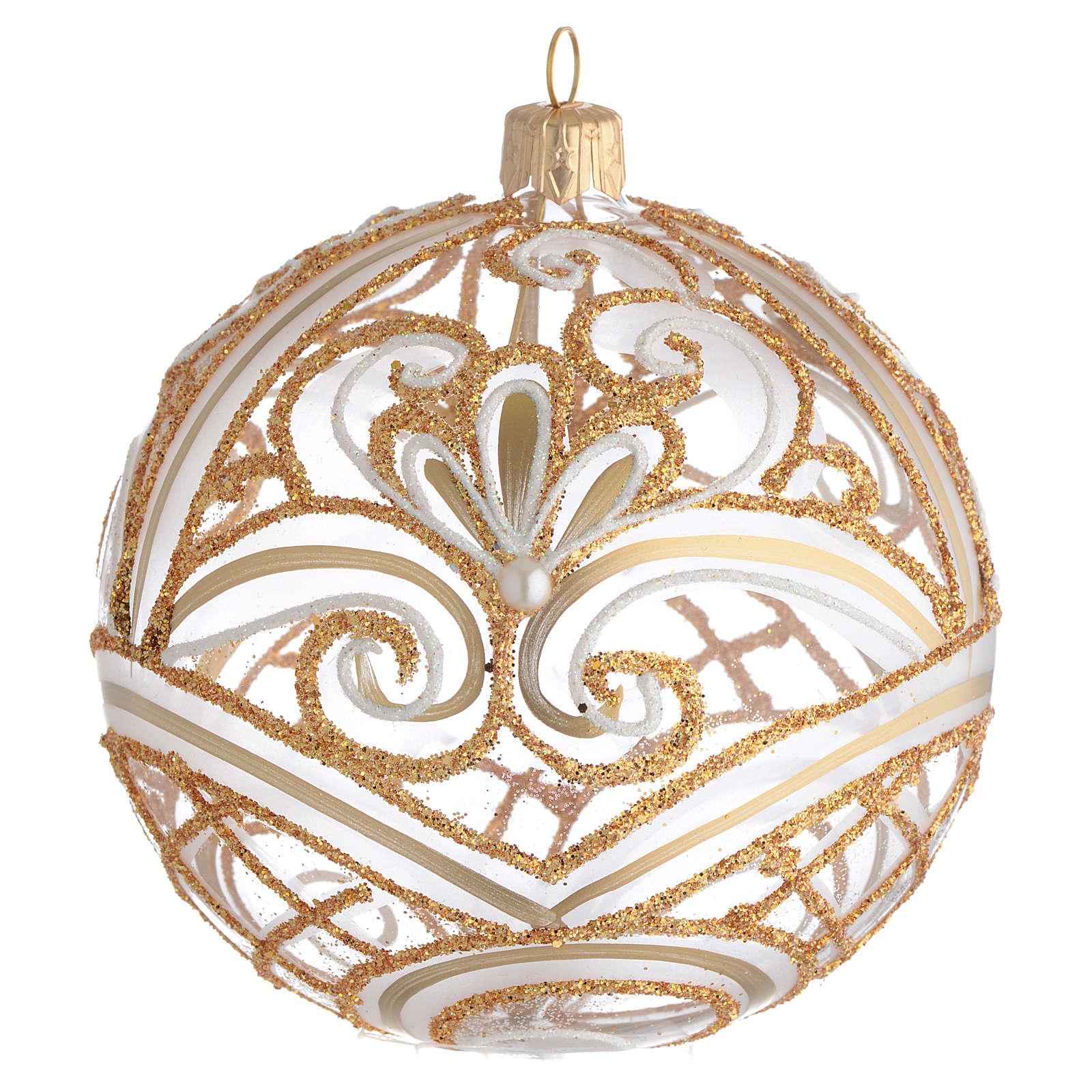 Pallina di Natale trasparente oro 100 mm 4