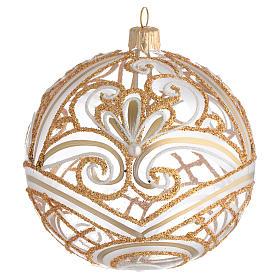 Pallina di Natale trasparente oro 100 mm s1