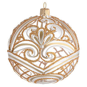 Christmas Bauble transparent and gold 10cm s1