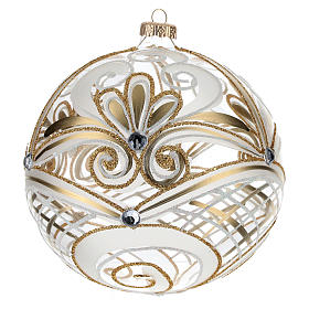 Christmas Bauble transparent and gold 15cm s3