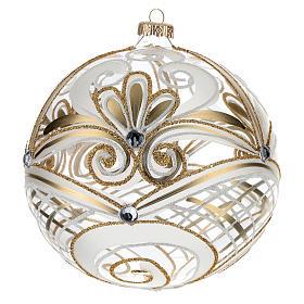 Bola de Navidad vidrio soplado transparente dorada 150 mm s3