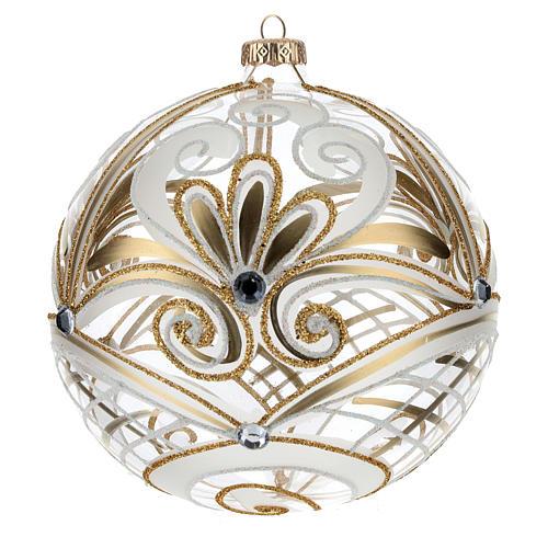 Bola de Navidad vidrio soplado transparente dorada 150 mm 1