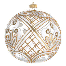 Palla addobbo Natale trasparente oro 150 mm s2