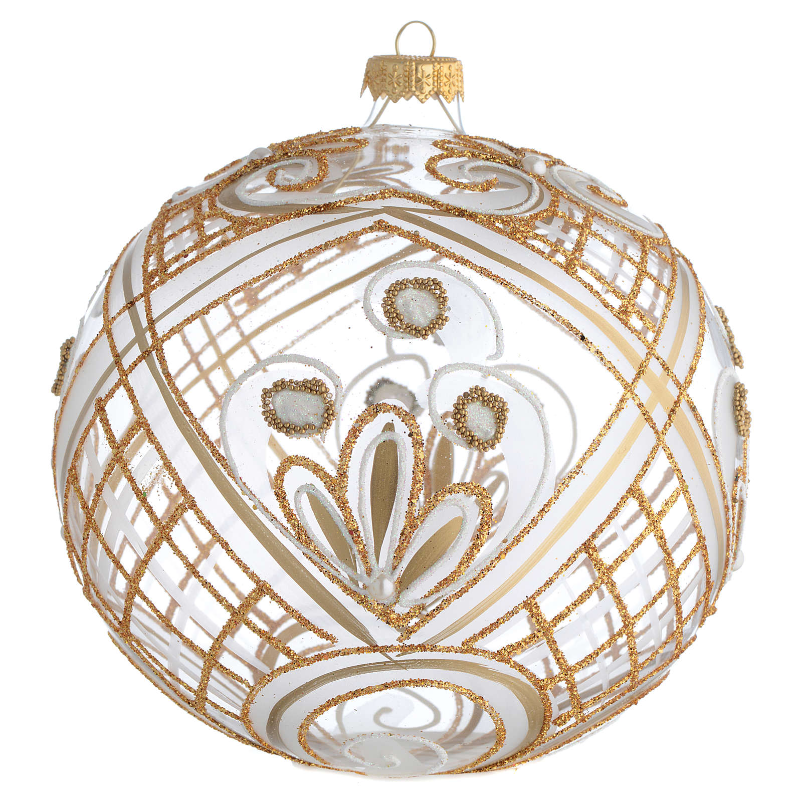 Christmas Bauble transparent and gold 15cm 4