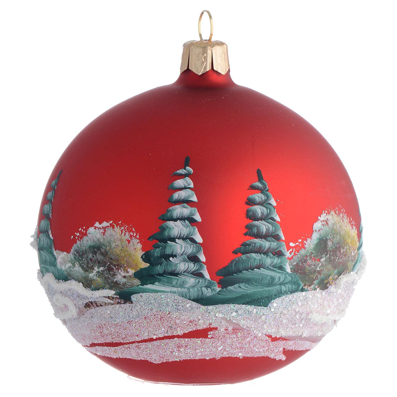 Palla Albero Natale rosso paesaggio 100mm 4