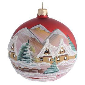Palla Albero Natale rosso paesaggio 100mm s1