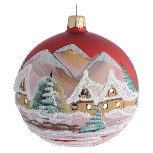 Palla Albero Natale rosso paesaggio 100mm 1
