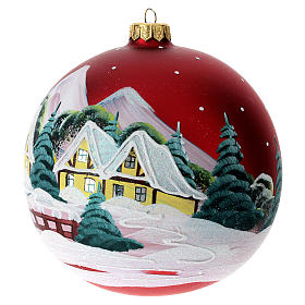 Boule pour Noël rouge décor paysage 150 mm s4