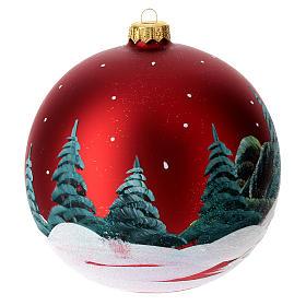 Boule pour Noël rouge décor paysage 150 mm s6