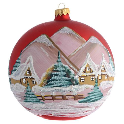 Boule pour Noël rouge décor paysage 150 mm 1
