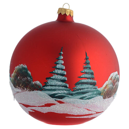 Boule pour Noël rouge décor paysage 150 mm 2