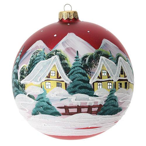 Boule pour Noël rouge décor paysage 150 mm 3