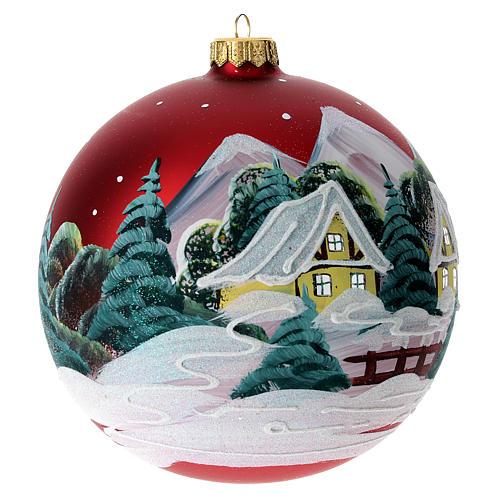 Boule pour Noël rouge décor paysage 150 mm 5