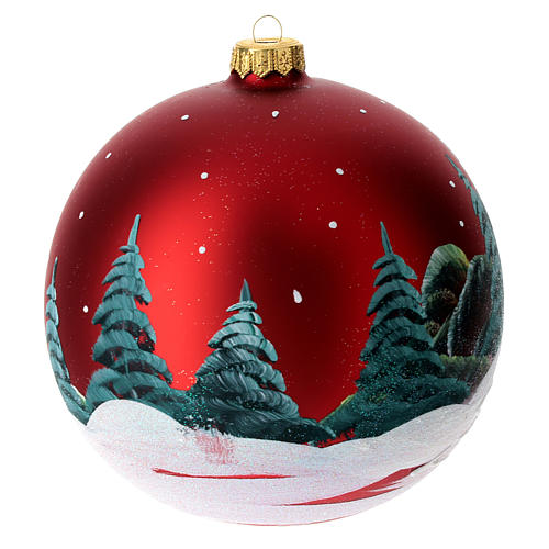 Boule pour Noël rouge décor paysage 150 mm 6