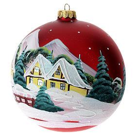 Palla Natale rosso paesaggio 150mm s4
